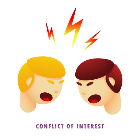 Conflict of interest. Vector illustration. Flat. Gradient.