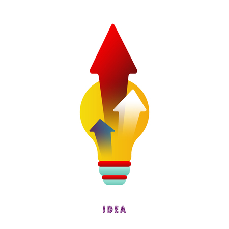 Idea. Arrows from the lamp. Vector. Flat. Illustration