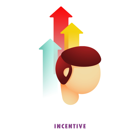 Incentive. Arrows from head. Vector illustration. Flat. Gradient.