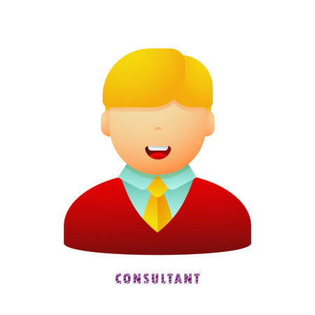 Consultant. Avatar. Vector illustration. Flat. Gradient.
