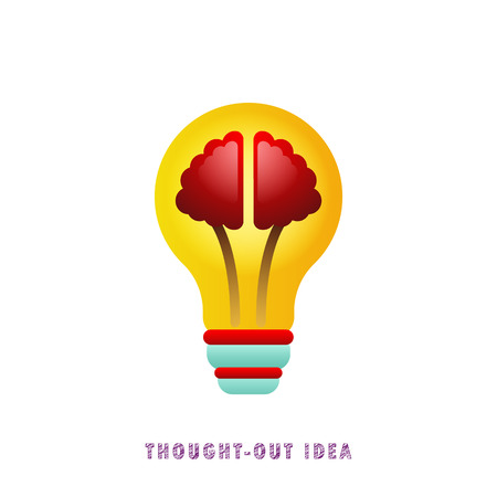 Thought-out idea. Light bulb with brain. Flat. Gradient.
