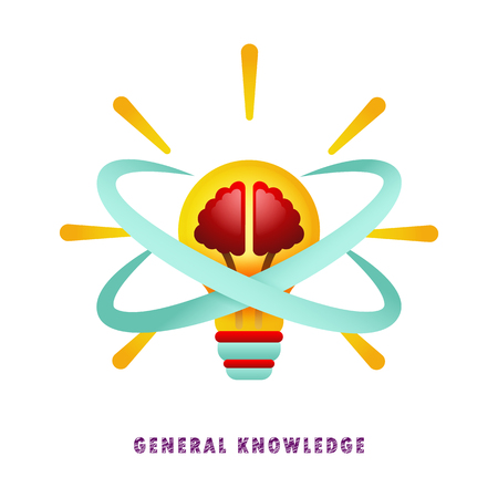 General knowledge. Thought-out idea. Light bulb with brain. Vector illustration. Flat. Gradien