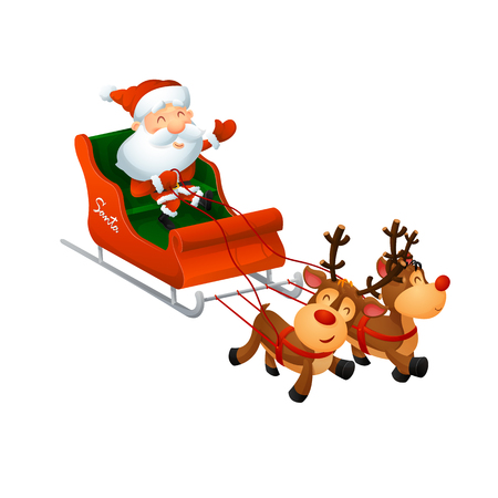 Cartoon cute Santa Claus on a sleigh with funny reindeer. On a white background, cartoon, vector illustration.
