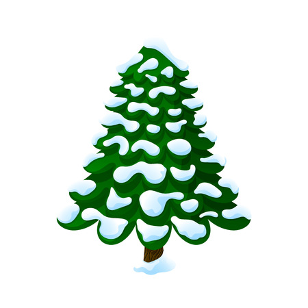 Christmas tree in the snow. On a white background, cartoon, vector illustration.