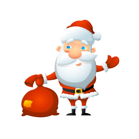 Cartoon cute Santa Claus, with a bag of gifts in his hand. On a white background, cartoon, vector illustration.