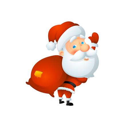 Cartoon cute Santa Claus waving with a bag of gifts behind his back. On a white background, cartoon, vector illustration. Illustration