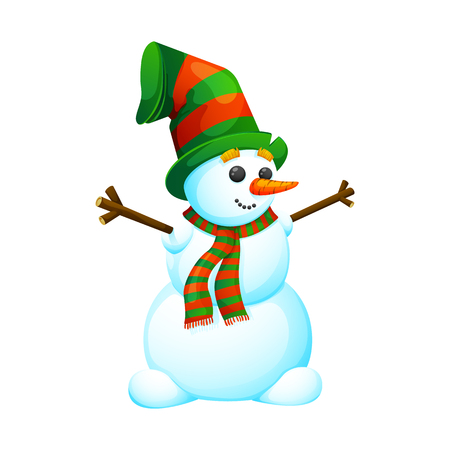 Funny, cartoon snowman in a hat. On a white background, cartoon, vector illustration.