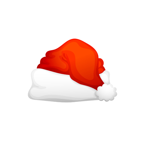 The Santa Claus Hat. On a white background, cartoon, vector illustration.  イラスト・ベクター素材