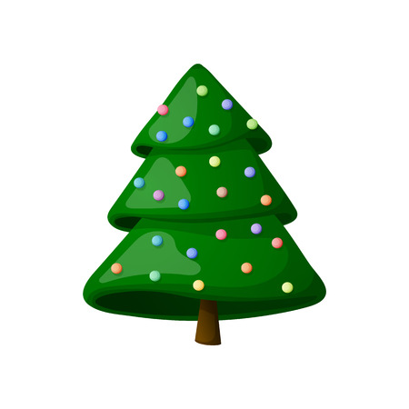 Christmas tree with decorations. On a white background, cartoon, vector illustration. Illustration