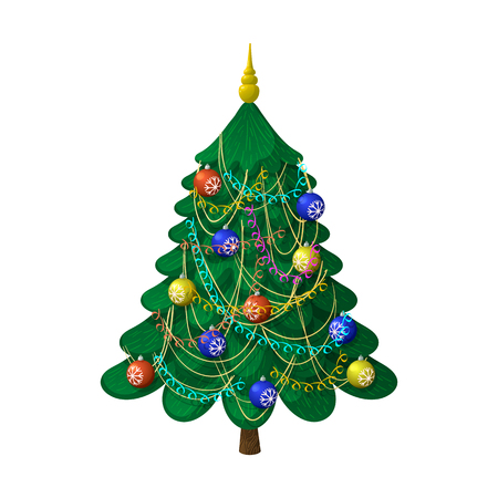 Christmas tree with decorations. On a white background, cartoon, vector illustration.  イラスト・ベクター素材