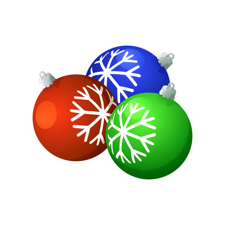 Christmas balls. On a white background, cartoon, vector illustration. Ilustração