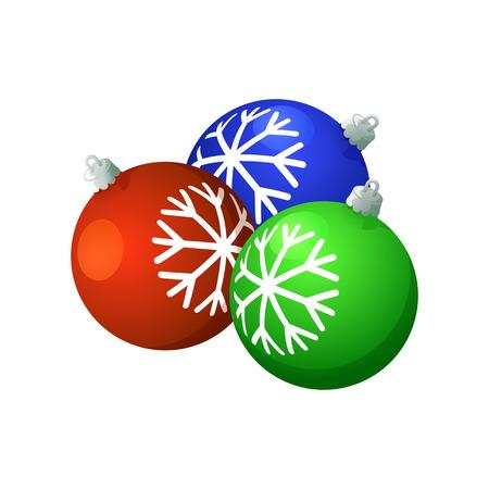 Christmas balls. On a white background, cartoon, vector illustration.  イラスト・ベクター素材