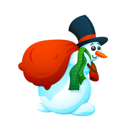Cheerful, cartoon snowman in a hat and with a bag of gifts. On a white background, cartoon, vector illustration.