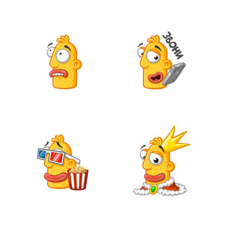 Set of special funny cartoon stickers character head, yellow color, with large lips and eyes in a vector on a white background.
