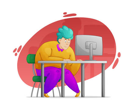 A kind, sweet, cheerful guy works hard at the computer in the office. Work in the office, deadline. Cartoon style, contour drawing in a vector.