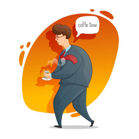 The guy with a cup of coffee. Coffee time. Cartoon contour drawing in a vector.