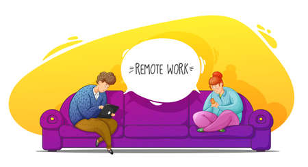 Guy and girl working online at home sitting on the sofa. Remote work. Correspondence. Cartoon contour illustration in a vector.