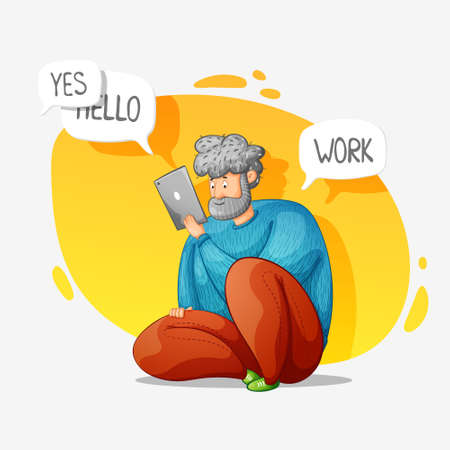 The guy works online at home. Distance work. Correspondence. Cartoon contour illustration in a vector. 向量圖像