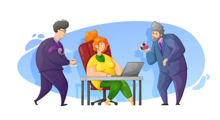 Caring for a colleague at work. Congratulations on your birthday at work. Cartoon contour illustration in vector.