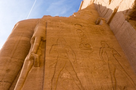Egyptian ancient temple giant pharaohs sculptures view