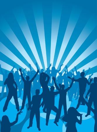 Fun dancing crowd. Vector illustration. Stock Vector - 1928757