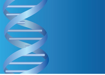 Dna spiral on blue background.  Vector