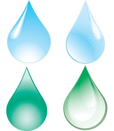 rippled: Quattro gocce: due verdi e due blu. Vector illustration.