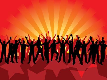 Fun dancing crowd. Vector illustration. Stock Vector - 2142209