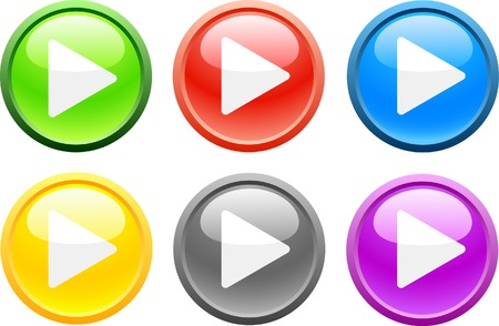 6 high-detailed buttons. Play.  Vector illustration.  Vector