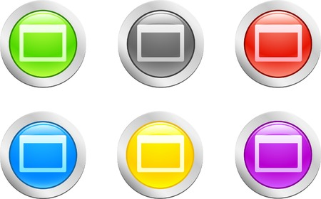 6 high-detailed buttons. Open button.  Vector illustration.  Stock Vector - 2146455