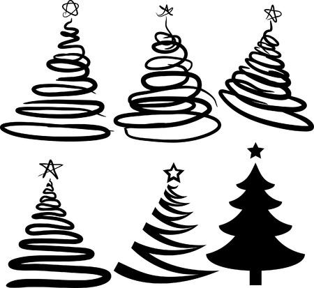 spachteln: Weihnachts-B�ume enth�lt nur f�llen. Alle Kurven sind verf�rbt. Vector illustration.