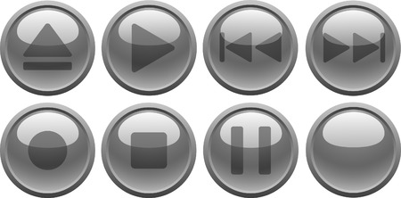 6 high-detailed buttons. Grey media buttons.  Vector illustration. Vector