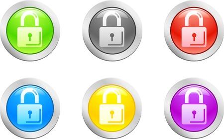 6 high-detailed buttons. Padlock button.  Vector illustration. Stock Vector - 2146456