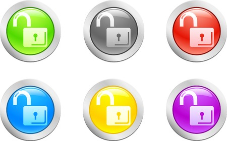 6 high-detailed buttons. Padlock-open button.  Vector illustration.  Vector