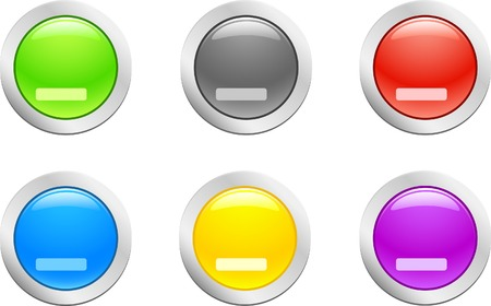 6 high-detailed buttons. Cut down button.  Vector illustration. Stock Vector - 2146453