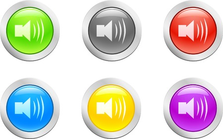 6 high-detailed buttons. Sound button.  Vector illustration.  Stock Vector - 2151084