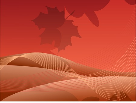 Brown-red abstract background with maple leaf. Stock Vector - 2151081