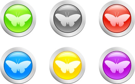 6 high-detailed buttons. Butterfly.  Vector illustration.  Vector