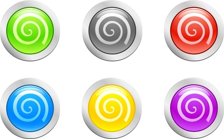 6 high-detailed buttons. Swirl button.  Vector illustration. Stock Vector - 2159626