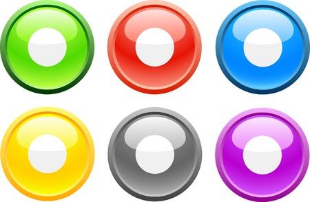 rec: 6 high-detailed buttons. Rec.  Vector illustration.  Illustration