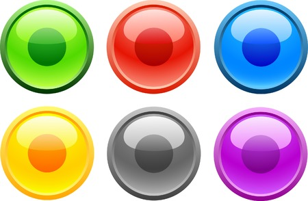 6 high-detailed buttons. Rec.  Vector illustration. Vector