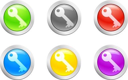 doorkey: 6 high-detailed buttons. Doorkey.  Vector illustration.