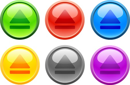 6 high-detailed buttons. Eject.  Vector illustration. Vector