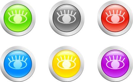 6 high-detailed buttons. Eye.  Vector illustration. Stock Vector - 2159631