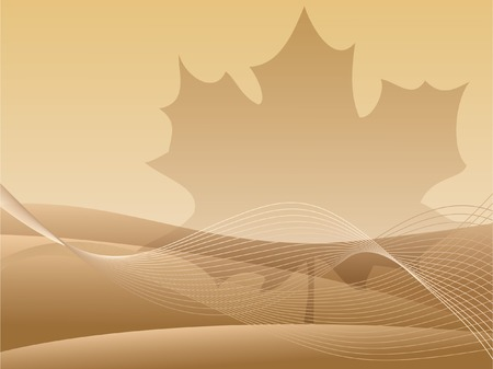 Golden abstract background with maple leaf Vector