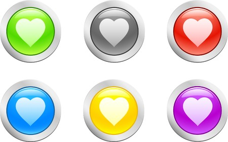 6 high-detailed buttons. Heart button.  Vector illustration.  Stock Vector - 2159622