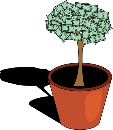 Money tree in flower pot. Vector illustration. Vector