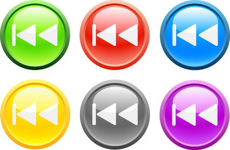 6 high-detailed buttons. Previous.  Vector illustration.  Vector