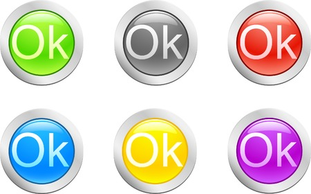 6 high-detailed buttons. Ok button.  Vector illustration. Stock Vector - 2166802