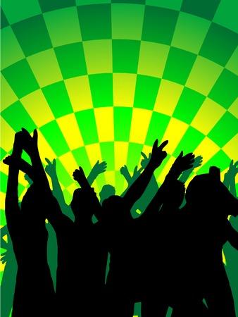 Fun dancing crowd. Vector illustration. Stock Vector - 2166807
